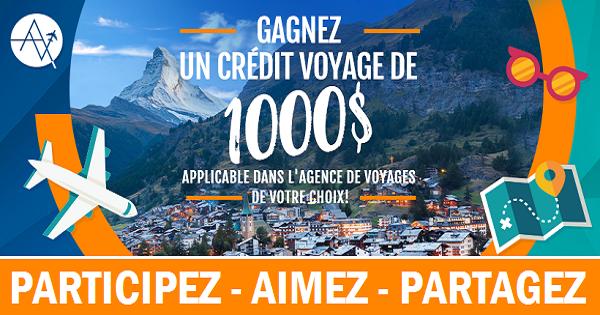 Concours Gagnez un crédit-voyage de 1000$ applicable dans l'agence de voyages de votre choix!