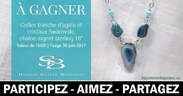 Concours Gagnez un collier tranche d'agate et cristaux Swarovski, gracieuseté des Bijouteries du Québec