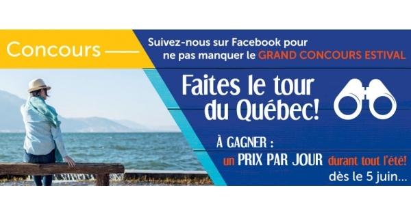 Concours Faites le tour du Québec! Un prix par jour tout l'été!