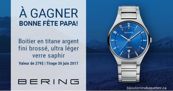 Concours Gagnez  une montre Bering à boitier en titane argent pour la fête des pères!