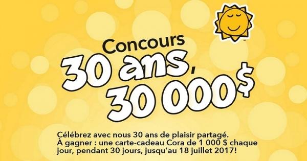Concours Gagnez une carte-cadeau Cora de 1 000 $ chaque jour, pendant 30 jours!
