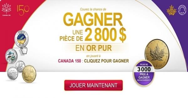 Concours Gagnez une pièce de 2800$ en Or Pur!