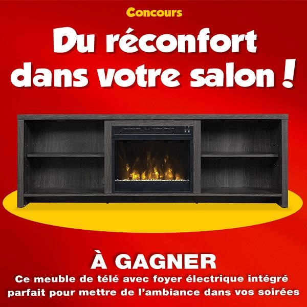 Concours gagnez un meuble t l avec foyer lectrique for Economax meuble