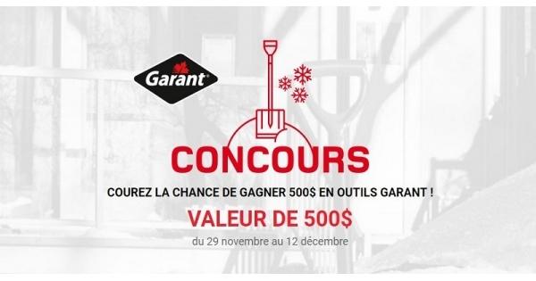 Concours GAGNEZ 500$ EN OUTILS GARANT!