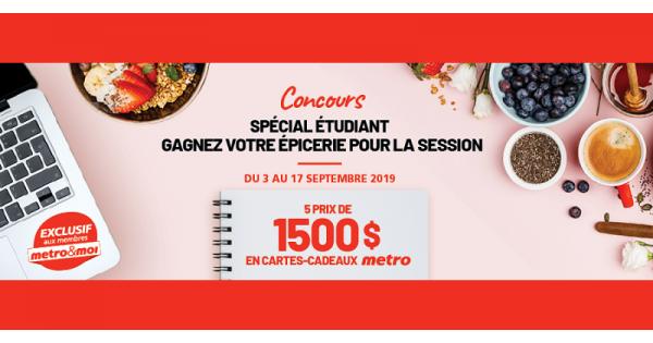 Concours Metro paie votre épicerie pour la session!