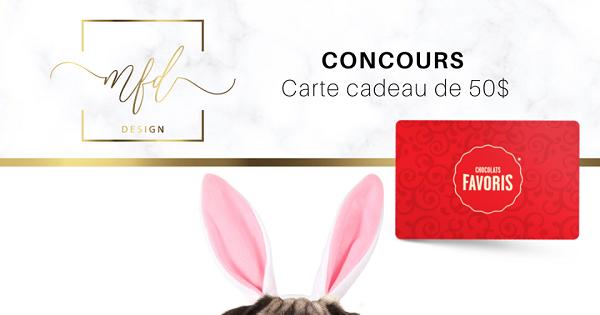 Concours Gagnez une carte-cadeau de 50$ chez Chocolats Favoris!