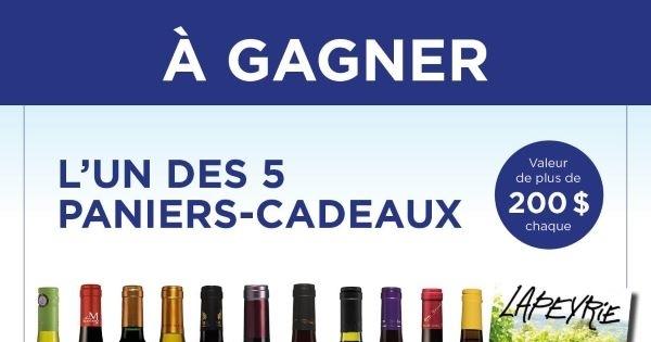 Concours Gagnez un des 5 paniers-cadeaux comprenant tous les produits Vins Fins l'Agence!
