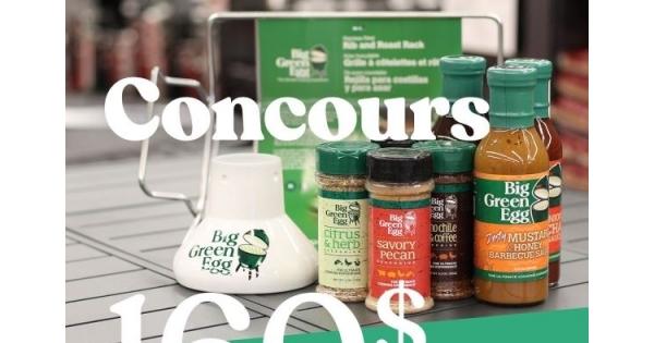 Concours Gagnez un ensemble de produits Big Green Egg d'une valeur de 160$!