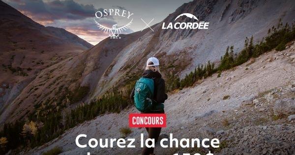 Concours Gagnez un bon d'achat d'une valeur de 150 $ échangeable contre des produits Osprey!