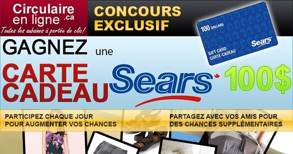 concours une carte cadeau sears d une valeur de 100. Black Bedroom Furniture Sets. Home Design Ideas