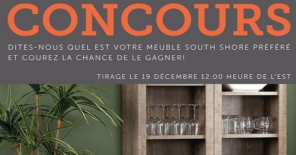 Concours gagnez un meuble south shore de votre choix for Meuble en ligne quebec