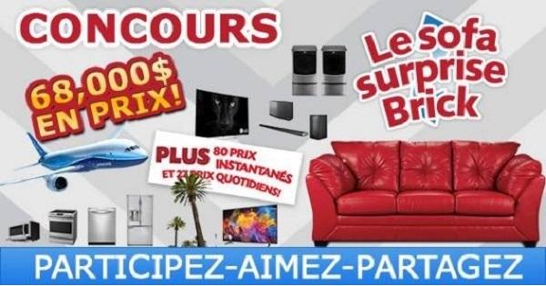 Concours le sofa surprise brick concours en ligne qu bec for Brick meuble quebec