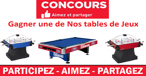 concours gagnez une table de billard ou de hockey. Black Bedroom Furniture Sets. Home Design Ideas