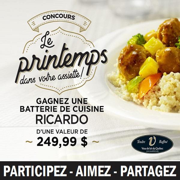 Concours gagnez une batterie de cuisine sign e ricardo - Ricardo cuisine concours ...